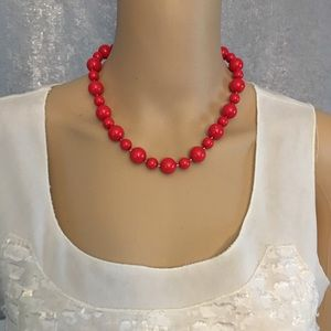 Red beaded necklace- short choker length